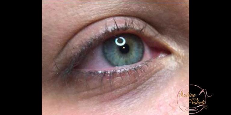 avant maquillage permanent des yeux traits supérieur et inférieur Sabine Valenti
