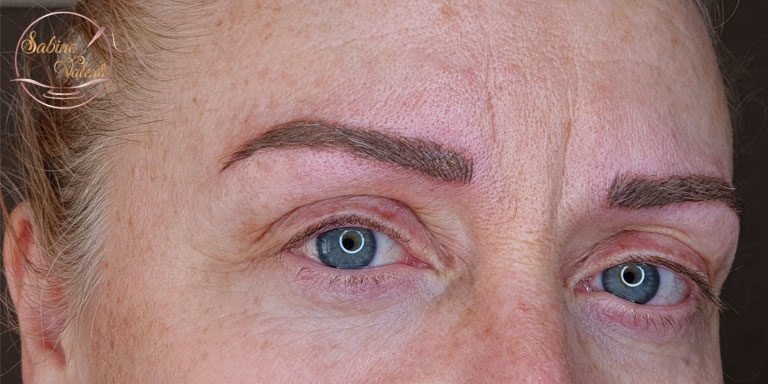 après reprise maquillage permanent sourcils Sabine Valenti