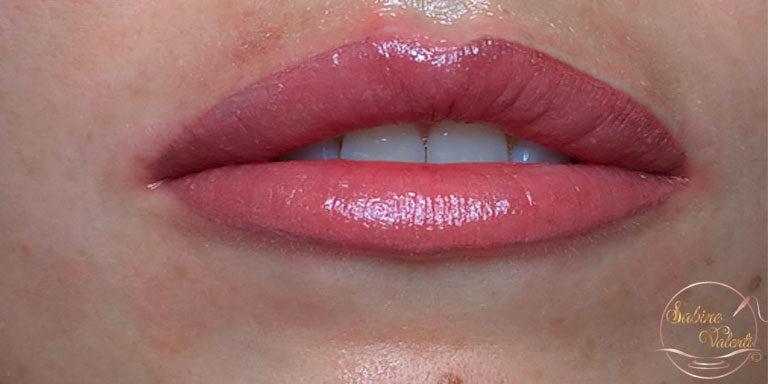 Résultat après maquillage permanent des lèvres Sabine Valenti