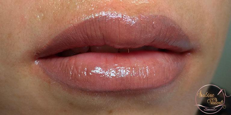 Résultat d'un maquillage permanent des lèvres nude Sabine Valenti
