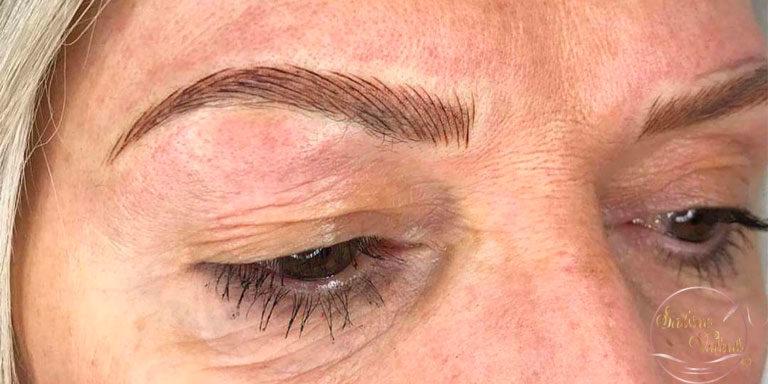 sourcils comblés par maquillage permanent Sabine Valenti